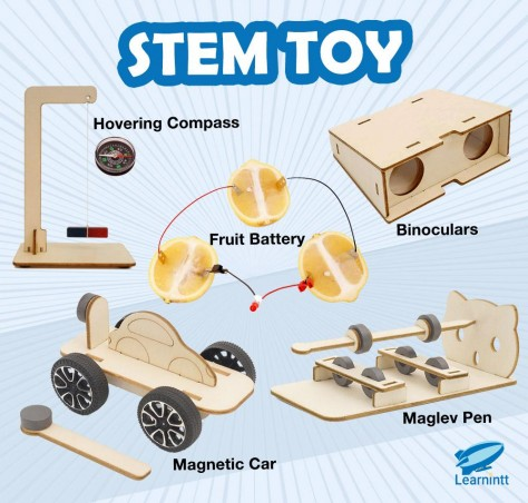5 STEM Toy Bundle - Hovering Compass, Binoculars, Fruit Battery, Maglev Pen, Magnetic Car (For Age 9-12)